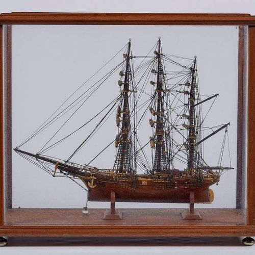MAQUETTE of three wooden and bone masts under showcase. 19th century, dimension …