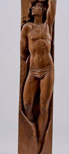 "Jean FRÉOUR (1919 2010) : "" Adolescence "", oak sculpture in direct carving, sign…"
