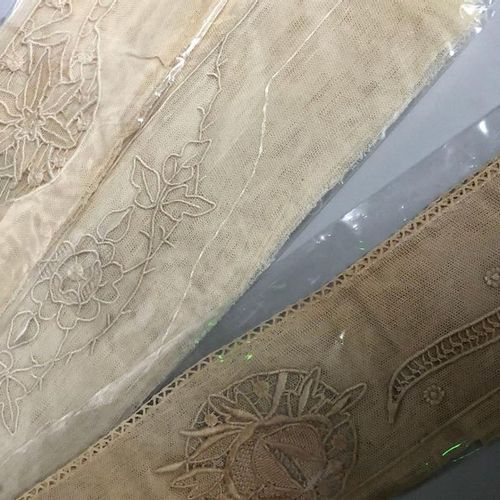 IMPORTANT LOT of embroideries on tulle. BIGOUDEN COUNTRY, circa 1920. One joins …