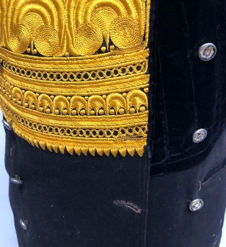 MEN'S VEST in black sheet and black velvet embroidered with yellow silk threads …