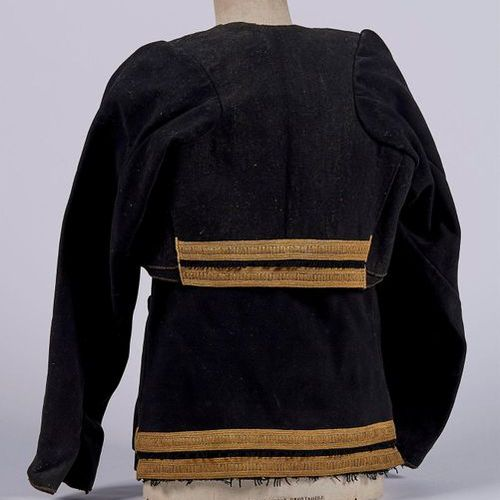 MEN'S COSTUME with its glass buttons made up of a black wool jacket decorated wi…