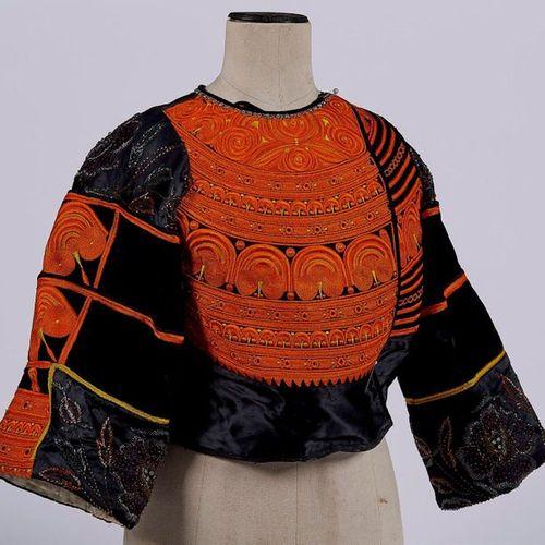 WEDDING WOMEN'S COSTUME embroidered on black silk satin in orange and yellow, cu…