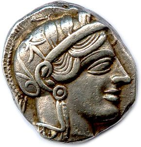 ATTACK ATHENS circa 430 B.C. Helmet head of Athena. R/. Owl owl of Athens in a h…