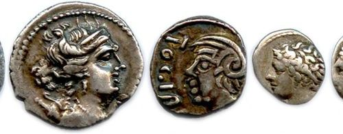 GALLERY Lot of six Gallic silver coins (10.25 g): drachmas with the lion of Mars…