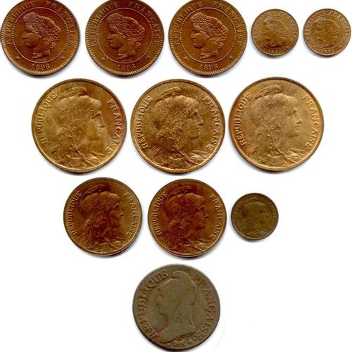 Lot of eleven French copper coins IIIrd Republic 1871 1940 (58,36 g) Type Cérès …