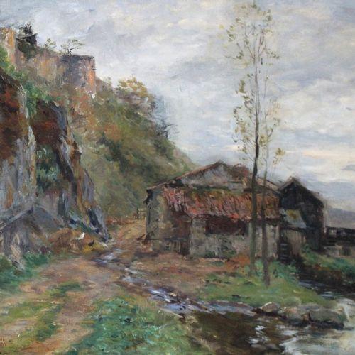 Edmond Marie PETITJEAN (1844 1925) Moulin à roue à aube en bordure de rivière. H…