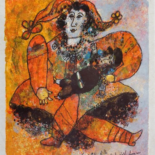 Théo TOBIASSE (1927 2012). Le vieillard et l'enfant. Lithographie en couleurs. S…