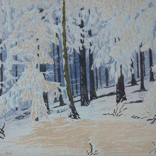 Paul LESCHHORN (1876 1952) Sous bois enneigé. Gravure sur bois en couleurs, sign…
