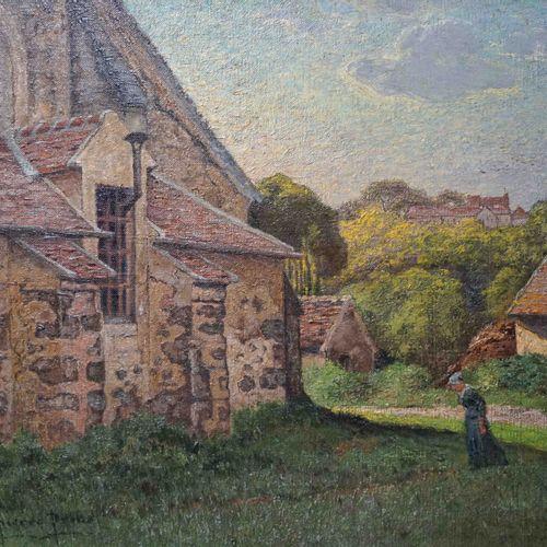 Pierre Ernest PRINS (1838 1913) Derrière l'église de Serrnaise, 1904. Huile sur …