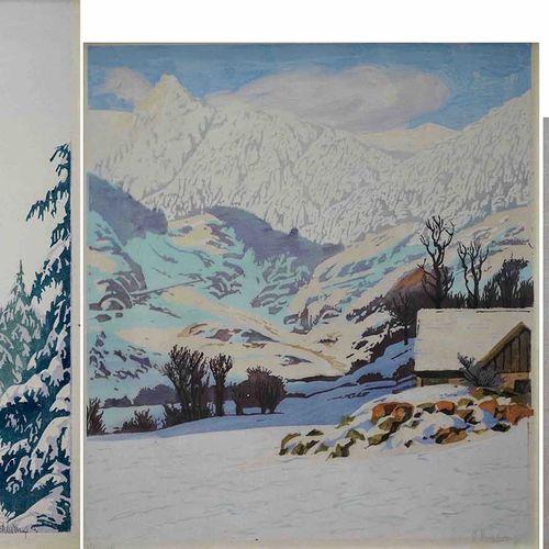 Paul LESCHHORN (1876 1952) Chalet enneigé, sapins sous la neige et paysage de ne…