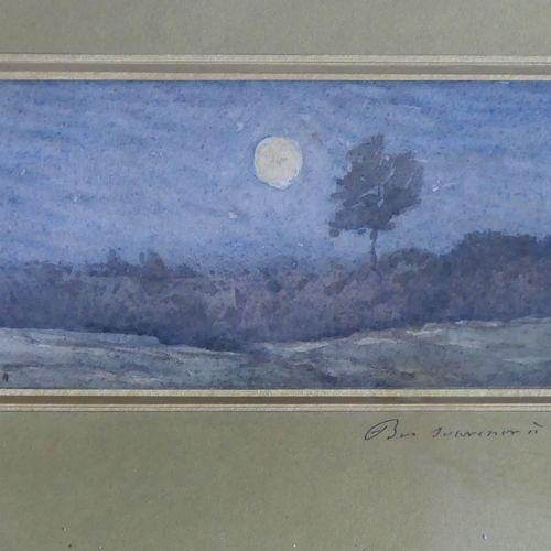 Henri Joseph HARPIGNIES (1819 1916) Effet de lune. Aquarelle signée et datée 187…