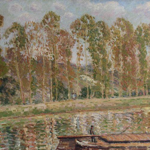 Georges MANZANA PISSARRO (1871 1961) Paysage à la péniche. Huile sur toile porta…