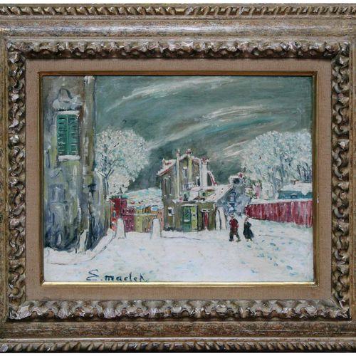 Elisée MACLET (1881 1962) Montmartre sous la neige. Huile sur toile signée en ba…