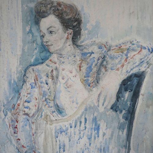 Constantin Andréevitch TERECHKOVITCH (1902 1978) Elégante assise. Aquarelle et c…