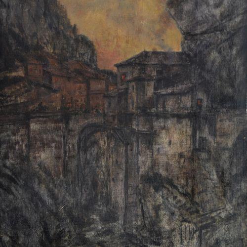 Charles COTTET (1863 1925) Pont au crépuscule. Huile sur panneau signé en bas à …