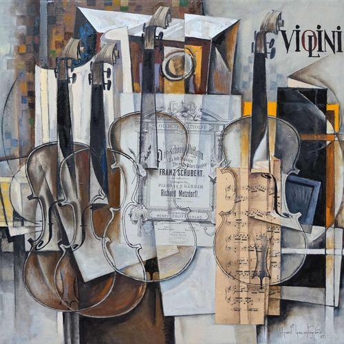 Aram KOUPETZIAN (né en 1928). Violini. Huile sur toile signée en bas à droite et…