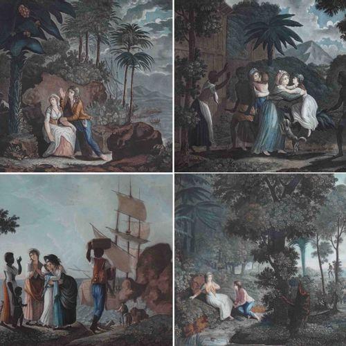 Ecole française du XIXe. Histoire de Paul et Virginie. Suite de quatre lithograp…
