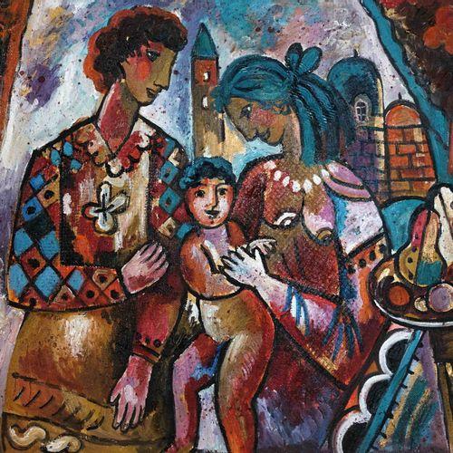 Marc FRENKEL, XXe. Famille. Huile sur toile signée en bas à gauche. 40 x 50 cm