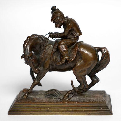 Théodore GECHTER (1796 1844) Singe habillé en jockey sur un cheval attaqué par u…