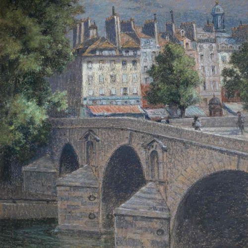 Pierre Ernest PRINS (1838 1913) Paris, le pont Marie. Pastel signé en bas à droi…