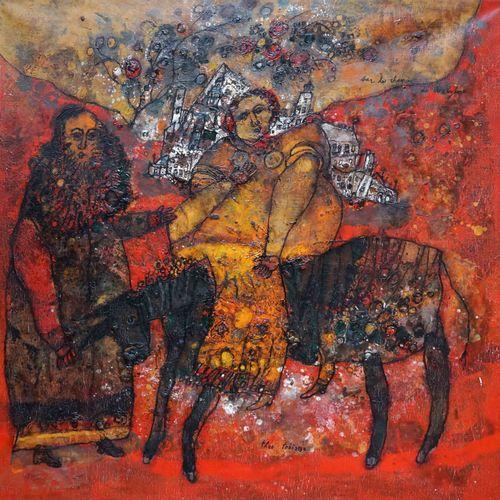 Théo TOBIASSE (1927 2012) Sur le chemin de Babylone. Huile sur toile signée en b…