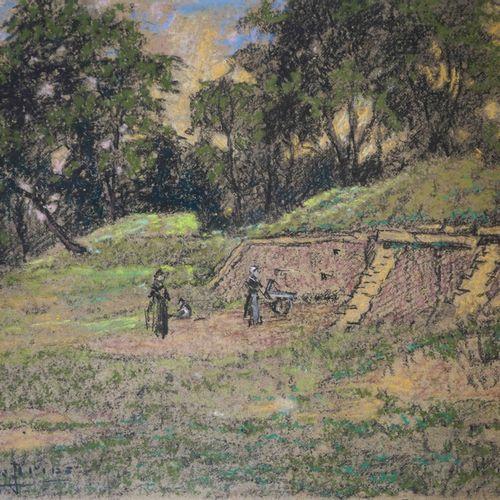 Pierre Ernest PRINS (1838 1913) Femmes près de fortifications. Pastel signé en b…