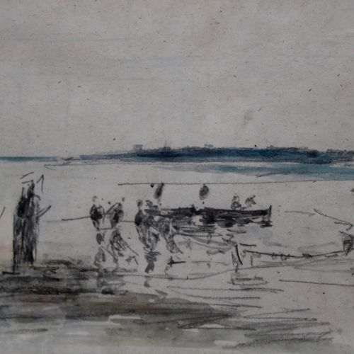 Eugène BOUDIN (1824 1898) Personnages et barque de pêcheur. Fusain, lavis d'encr…