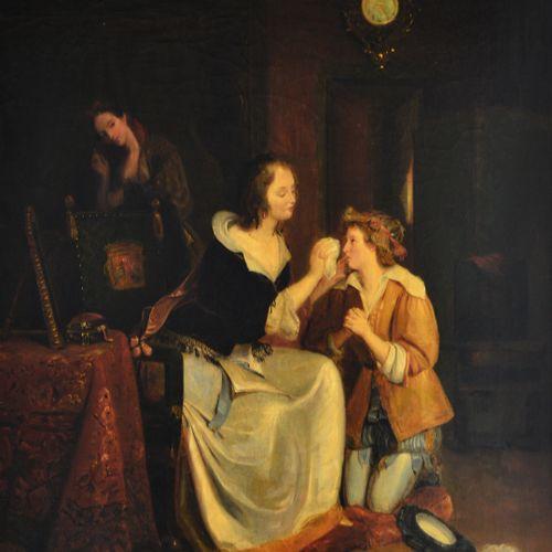 Ecole romantique vers 1840. Mère consolant son fils. Huile sur toile. 89 x 56 cm