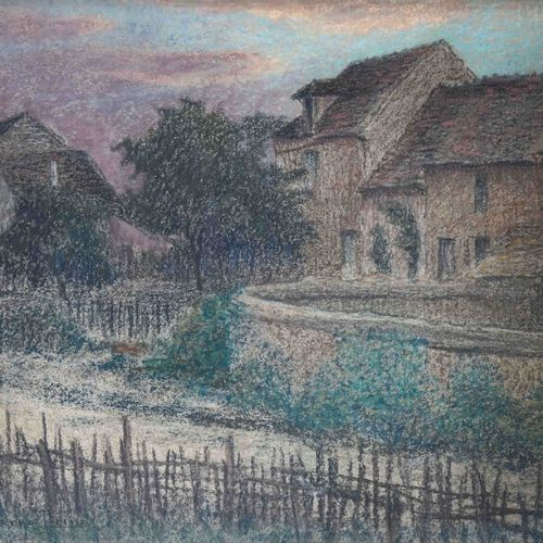 Pierre Ernest PRINS (1838 1913) Chemin aux barrières devant la demeure. Pastel s…