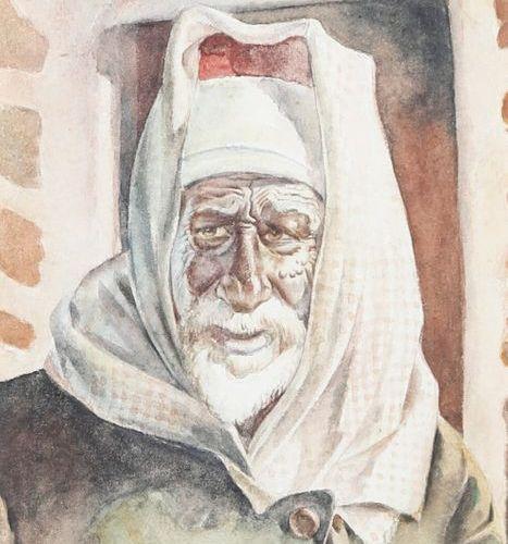 Regina Cooke (1902 1988) Portrait de vieillard à Jebel Druze, Syrie 1952 Aquarel…