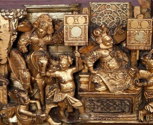 CHINE Important pair of ornaments    In wood carved in high relief and gilded wi…
