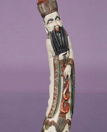 CHINE Topic    Polychromed ivory representing a sage  Late 19th early 20th centu…