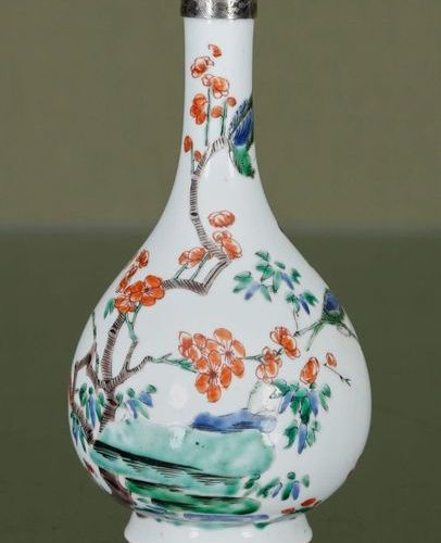 CHINE Vase    Enamelled porcelain of the green family, with a rotating decoratio…