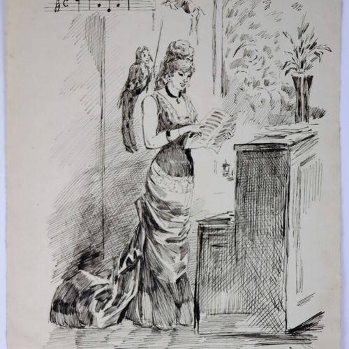 Henry SOMM (1844 1907).  La musicienne.  Encre sur papier.  Signée en bas à droi…