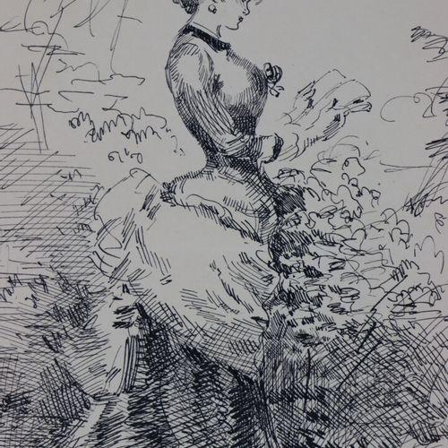 Henry SOMM (1844 1907).  Jeune femme à la lecture.  Encre sur papier.  Signée en…
