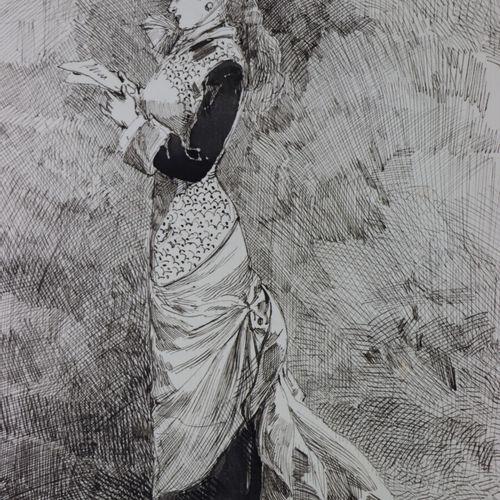 Henry SOMM (1844 1907).  Elégante à la lettre.  Encre sur papier et rehaut d'aqu…