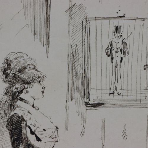 Henry SOMM (1844 1907).  Elégante à la cage.  Encre sur papier.  Signée en bas à…