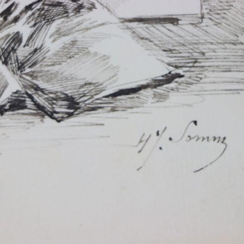 Henry SOMM (1844 1907).  Elégante aux fleurs dans un vase de Chine.  Encre sur p…