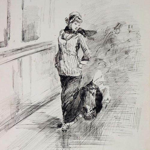 Henry SOMM (1844 1907).  Un vent de liberté.  Encre sur papier.  Signée en bas à…