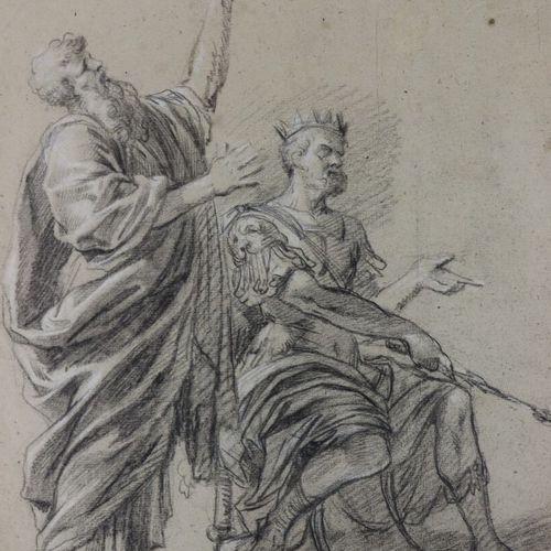 Ecole française vers 1700  Recto : scène avec un roi  Verso : Dieu le père  Pier…