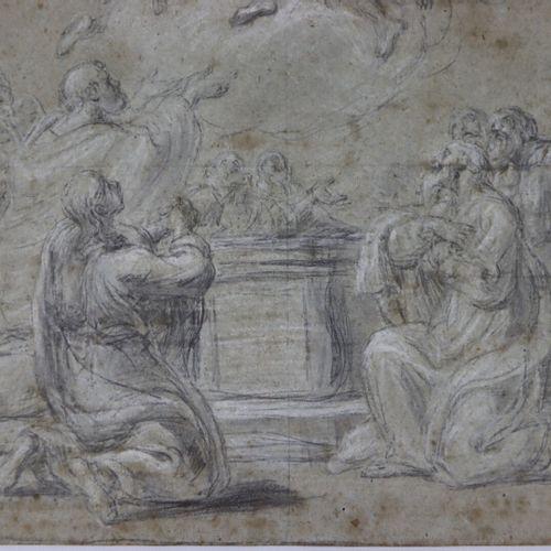Ecole française du XVIIIème siècle  Ascension de la Vierge  Pierre noire et crai…