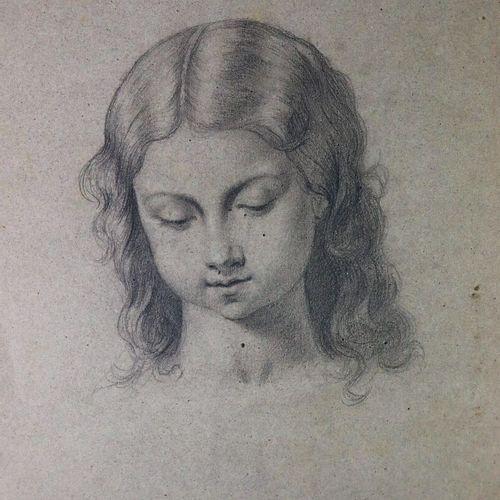 Ecole française du XIXème siècle.  Portrait de jeune femme.  Crayon sur papier b…