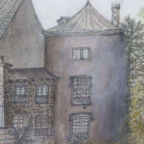 Ecole étrangère de la fin du XVIIIème siècle.  Plantations devant une demeure, p…