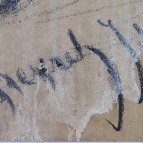 Edouard CHEVRET (1835 1874).  Deux clairons.  Fusain.  Signé et daté 71 en bas à…