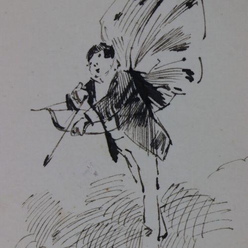 Henry SOMM (1844 1907).  Sous les flèches de Cupidon.  Encre sur papier.  Signée…