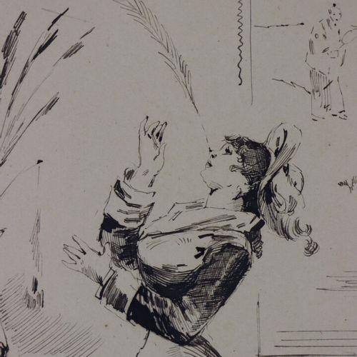 Henry SOMM (1844 1907).  L'équilibriste.  Encre sur papier.  Signée en bas à dro…