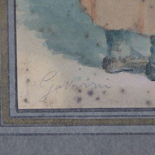 Paul GAVARNI (1804 1866).  Causerie.  Aquarelle, encre et rehauts de gouache sur…