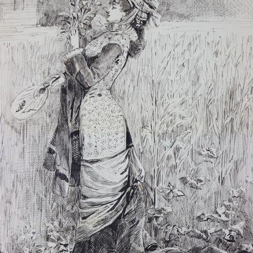 Henry SOMM (1844 1907).  Elégante à l'éventail et au bouquet de fleurs.  Encre s…