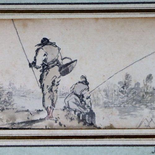 Ecole française du XVIIIème siècle.  Les pêcheurs.  Lavis d'encre.  Le cartouche…