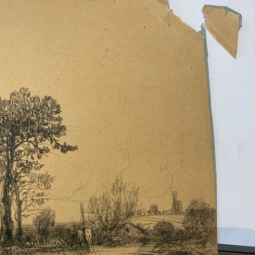 Camille FLERS (1802 1868)  Les arbres pris sur la gauche.  Fusain.  Signé en bas…